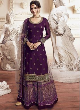 Purple Embroidered Party Designer Suit