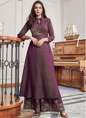 Purple Embroidered Party Wear Kurti