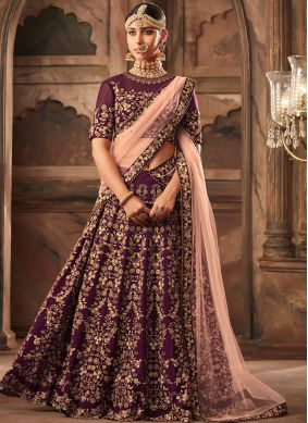Purple Embroidered Satin Designer Lehenga Choli