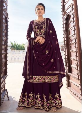 Purple Faux Georgette Festival Readymade Suit
