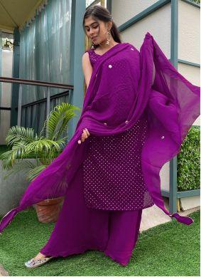 Purple Festival Designer Palazzo Salwar Kameez