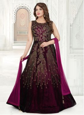 Purple Floor Length Anarkali Salwar Suit