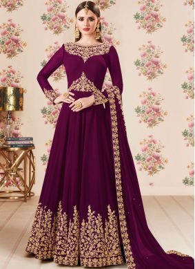 Purple Lace Wedding Floor Length Anarkali Suit