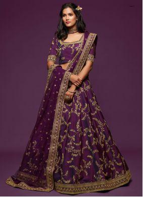 Purple Art Silk Embroidered Lehenga Choli
