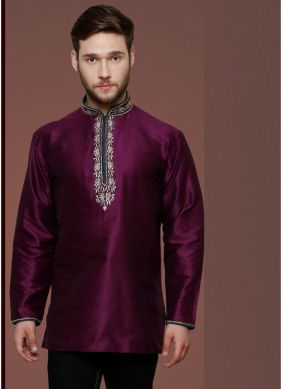 Purple Mehndi Art Dupion Silk Kurta