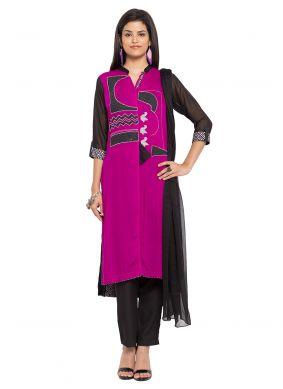 Purple Party Cotton Readymade Salwar Kameez