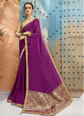 Purple Party Georgette Classic Designer Saree