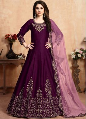 Purple Reception Art Silk Designer Salwar Suit