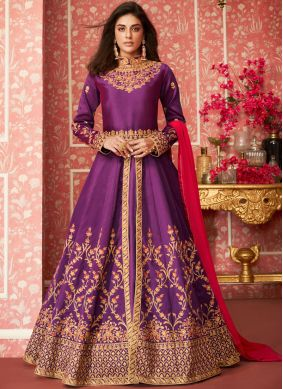 Purple Reception Desinger Anarkali Salwar Suit
