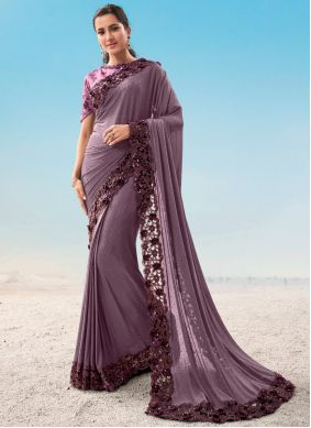 Purple Resham Fancy Fabric Classic Saree