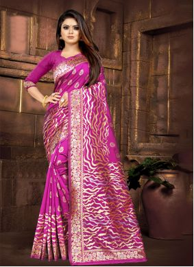 Purple Silk Contemporary Saree
