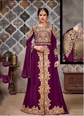Purple Stone Faux Georgette Trendy Salwar Suit