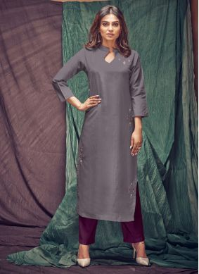 Purple Viscose Casual Kurti