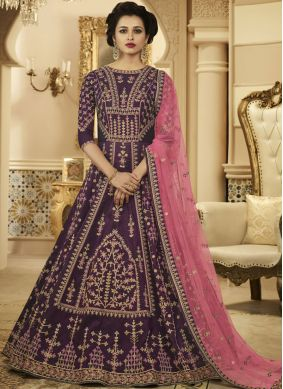 Purple Wedding Floor Length Anarkali Suit