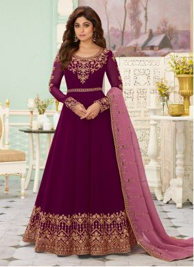 Purple Zari Georgette Anarkali Suit