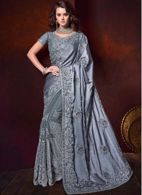 Radiant Embroidered Grey Satin Classic Saree