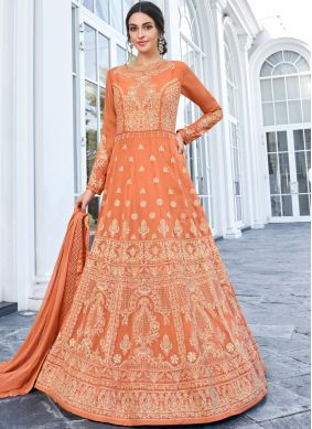 Radiant Orange Faux Georgette Anarkali Suit