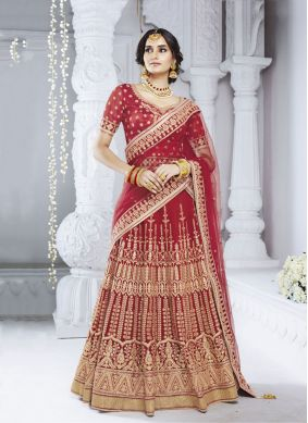 Radiant Red Net Designer Lehenga Choli