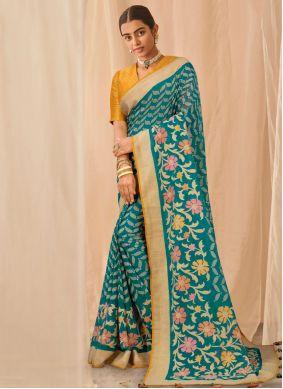 Rama Embroidered Classic Designer Saree