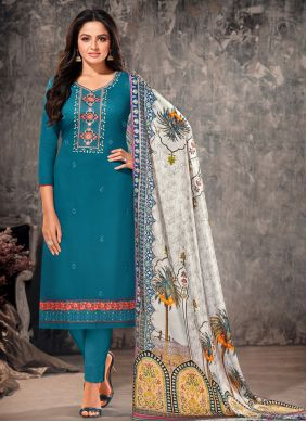 Rama Embroidered Cotton Straight Suit