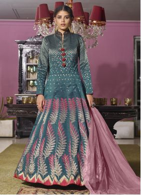 Rama Embroidered Readymade Anarkali Suit