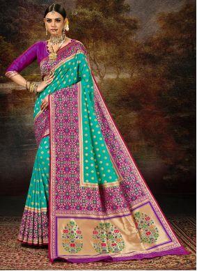 Rama Weaving Engagement Silk Saree