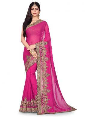 Rani Embroidered Georgette Designer Traditional Saree
