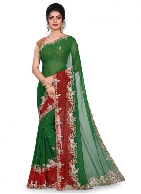 Rani Georgette Embroidered Designer Traditional Saree
