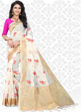 Ravishing Print White Net Saree