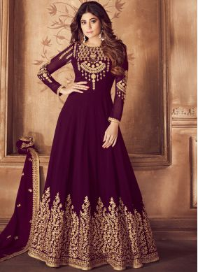Ravishing Purple Sangeet Anarkali Suit