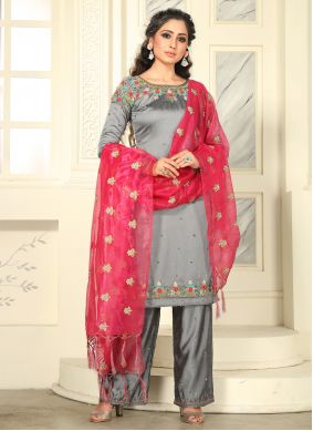 Raw Silk Grey Zari Salwar Suit