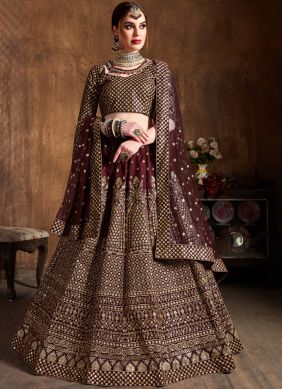 Raw Silk Lace Lehenga Choli in Wine