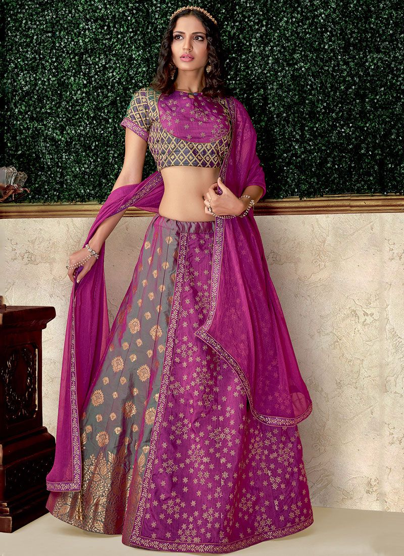 Raw Silk Magenta Lehenga Choli