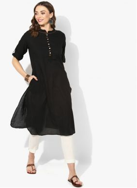 Rayon Black Plain Party Wear Kurti