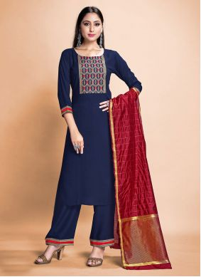 Rayon Blue Pant Style Suit
