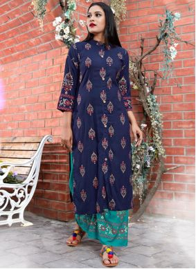 Rayon Casual Kurti in Blue