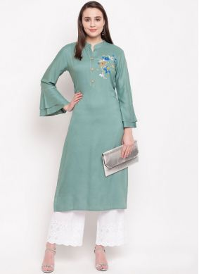 Rayon Designer Kurti in Sea Green