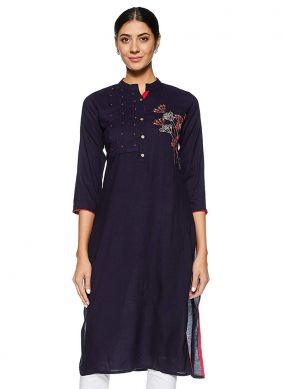 Rayon Embroidered Designer Kurti in Navy Blue