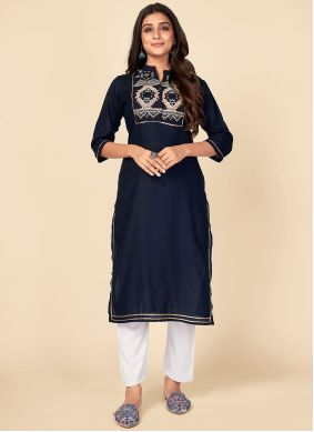 Rayon Embroidered Navy Blue Party Wear Kurti
