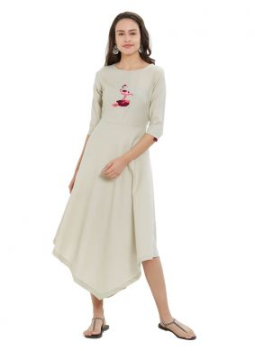 Rayon Embroidered Off White Party Wear Kurti
