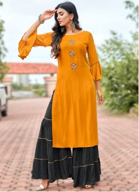 Rayon Embroidered Orange Designer Kurti