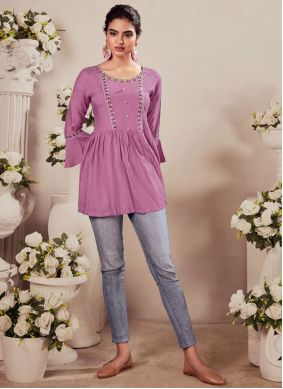 Rayon Embroidered Party Wear Kurti in Purple