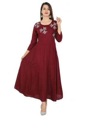 Rayon Embroidered Party Wear Kurti in Wine