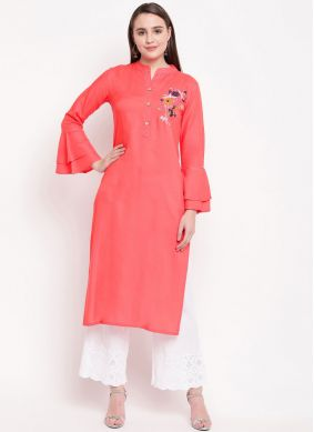 Rayon Embroidered Pink Casual Kurti