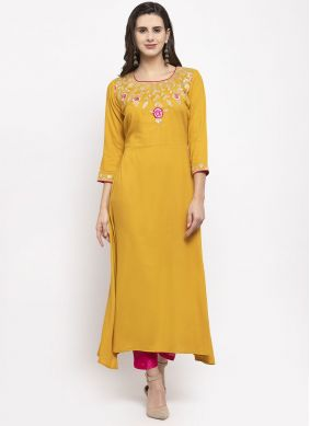 Rayon Embroidered Readymade Suit in Mustard