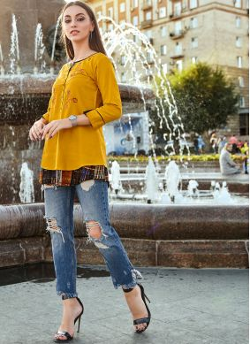 Rayon Embroidered Yellow Party Wear Kurti