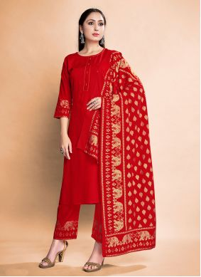 Rayon Foil Print Pant Style Suit in Red