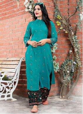 Rayon Green Foil Print Party Wear Kurti