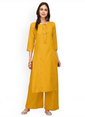 Rayon Mustard Plain Party Wear Kurti