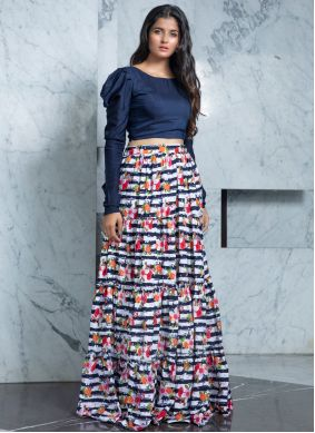 Rayon Navy Blue Bollywood Lehenga Choli